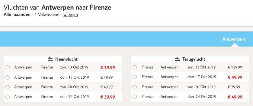 Vliegtickets Florence €90
