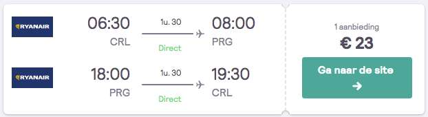 Vliegtickets Praag €23