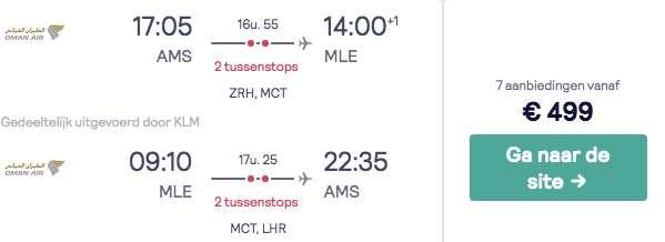 Vluchten Malediven €499