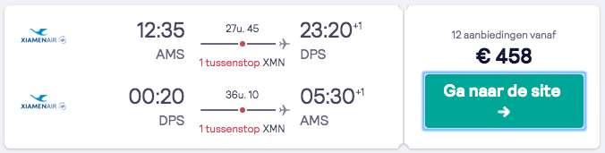 Vluchten naar Bali voor €458