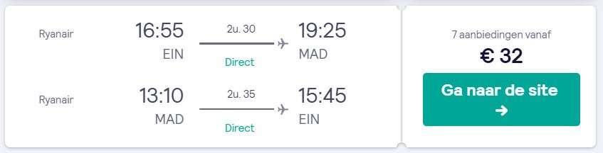 Vluchten naar Madrid voor maar €32