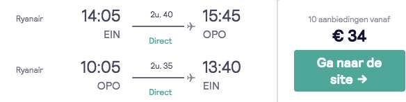Vluchten Porto €34