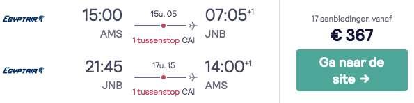 Vluchten Zuid-Afrika €367